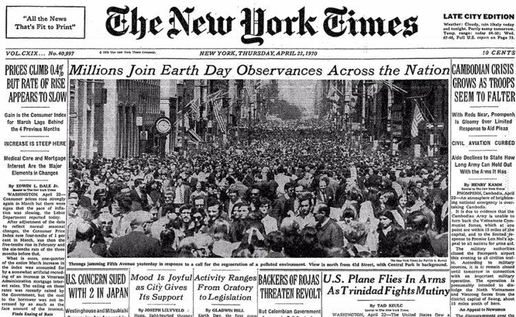 アースデイ翌日1970年4月23日、NewYorkTimesの一面