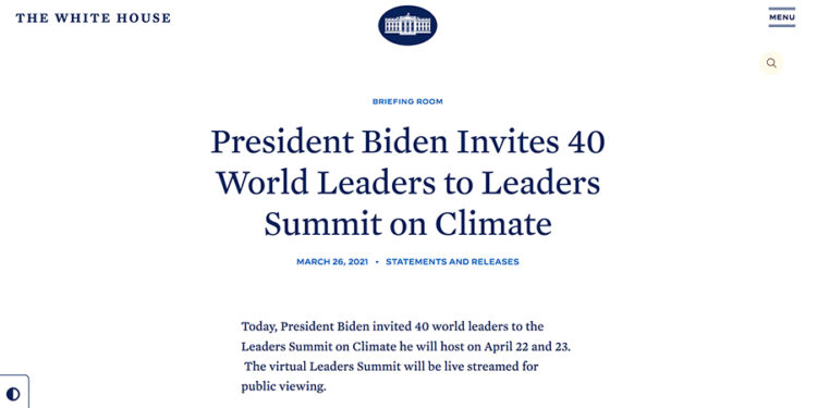 The White House /President Biden Invites 40 World Leaders to Leaders Summit on Climate